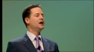 Clegg speech to Scottish Liberal Democrats conference SCOTLAND Perth INT Man introducing the Liberal Democrats Leader Nick Clegg to the Scottish...