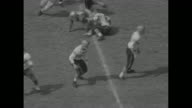 Clemson kick off / Clemson Inabinet tackle passes to Joe Pagliei forced out of bounds / #67 Billy OÕDell around end / Clemson Don King passes to...