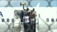 WJW Cleveland Cavaliers Arrive in Cleveland After Winning the NBA Finals LaBron James Holds the O'Brien Trophy in Cleveland Ohio on June 20 2016