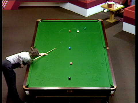 Cliff Thorburn clears colours and falls to his knees as he celebrates first ever 147 break at World Championships Bill Werbeniuk and Terry Griffiths...