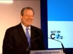 Brown / Gore speeches Gore to podium Al Gore speech SOT Congratulates people attending forum / thanks Gordon Brown / talks of their friendship and...