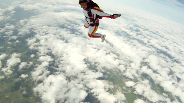 POV climbing out onto the wheel of a plane to jump off and do aerials with a female skydiver