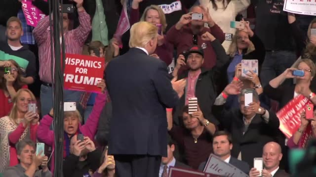 Donald Trump walks out on stage Clip 2 Donald Trump talks about Obama's protester and claims that the cameras didn't show the protester while they...
