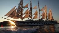 MS Clipper ship in Tyrrhenian sea / Lipari, Sicily, Italy