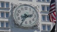 Clock & American Flag, Flat Iron District, Manhattan, New York City, New York, USA, North America