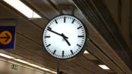 Clock in a small train station