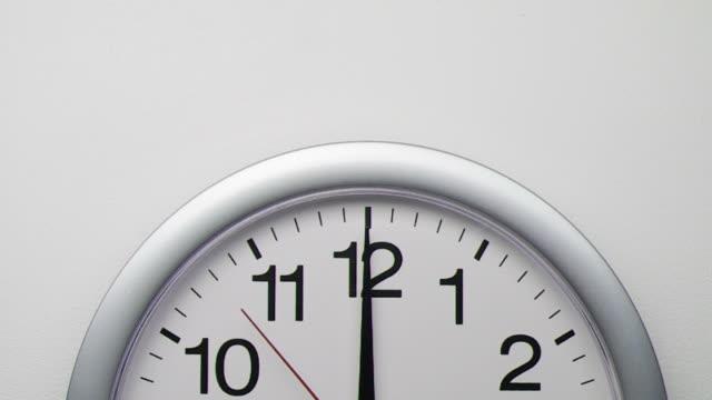 Clock ticks to midnight (or noon)