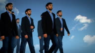 Cloned Businessmen Walking