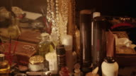 Close angle of makeup and makeup brushes, perfumes and lotions. beauty products.