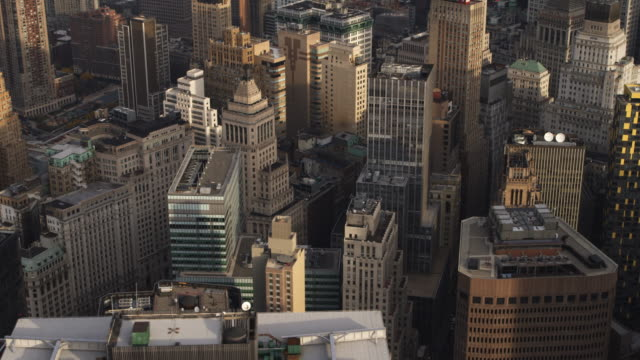 Close flight over the New York Financial District in Lower Manhattan. Shot in 2011.