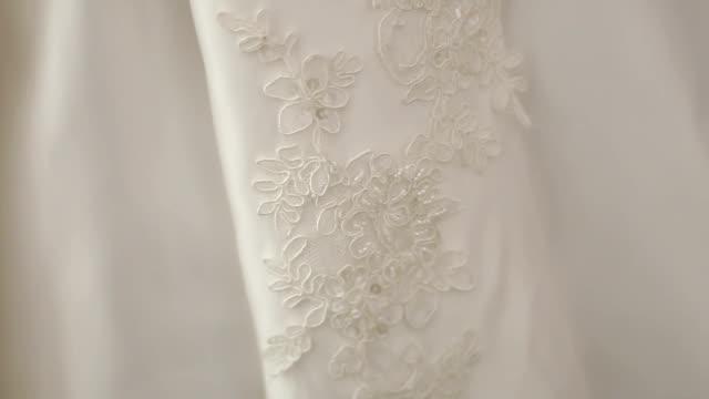 Close of wedding dress details