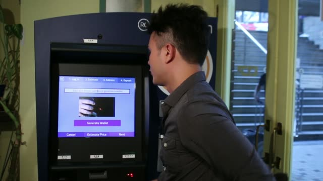 Close shot of a BMEX bitcoin exchanges Robocoin branded automated teller machine display screen Eugene Aono a spokesperson for BMEX bitcoin exchange...