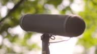 Close shot of a boom microphone.