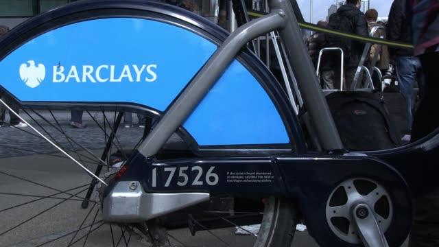 Close shot of Arnold Schwarzenegger's bicycle at Potter's Field to promote Barclays green energy Arnold Schwarzenegger meets London Mayor Boris...