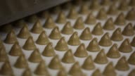 Close shots individual candies from the Rodnye Prostory product line move along a conveyor belt during production at the Rossiya chocolate factory...