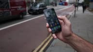Close shots the Uber Technologies Inc application is displayed on an Apple Inc iPhone 6 smartphone in London UK on Friday Oct 24 The Uber app icon is...