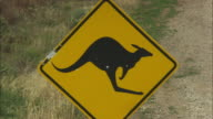 Close sign of a kangaroo warning sign next to a highway in Southern Australia.