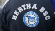 Close Up a fan logo of a fan of Hertha BSC Berlin is seen in front of the Wirsol RheinNeckar Arena prior to the Bundesliga match between TSG 1899...