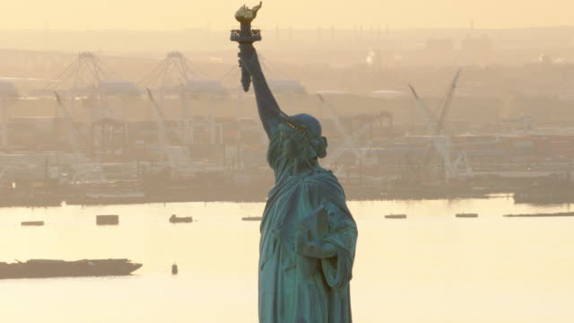 Close up aerial view of Statue of Liberty in the late afternoon