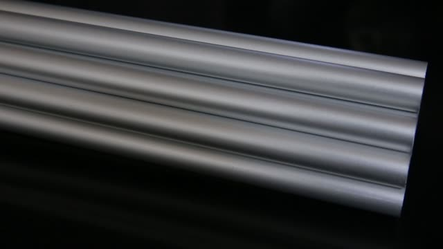 Close up aluminum rods are seen in this arranged video taken in Tokyo Japan on Sunday Oct 15 2017
