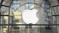 Close Up Apple logo at Apple Store on Regents Street London