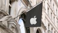 Close Up Apple signage at Apple Store on Regents Street London