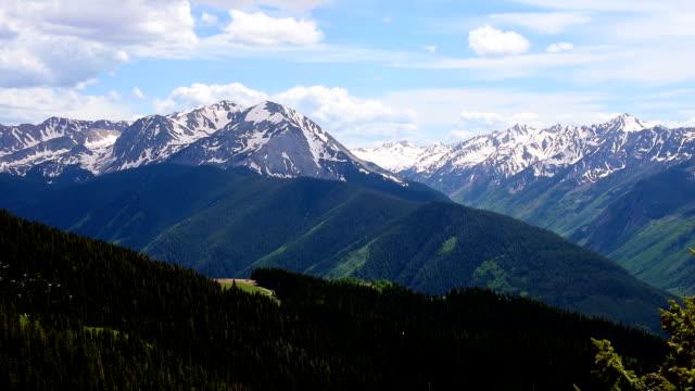 Nahaufnahme, Aspen Wildnis National Forest Land Zeitraffer von Epic Elk Mountain Valley oben Aspen Ski Resort