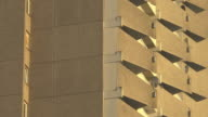 close up balconies in sunset