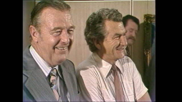Close up Bob Hawke chats at retirement function / Hawke with incoming President Cliff Dolan / chats with various / Hawke interview 'major feeling one...