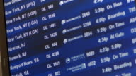 Close up canted airport flight board with Aeromexico listings / Hartsfield Airport, Atlanta