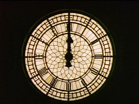 Close Up Clock On Big Ben At Night London Stock Footage ...