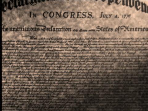 1956 close up Declaration of Independence document / zoom in John Hancock signature /  AUDIO