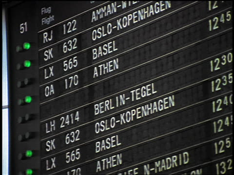 close up destination board at Frankfurt Airport with changing schedule / Germany