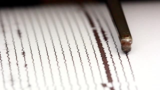 Nahaufnahme drum-Blockflöte die seismische signal aufgezeichnet