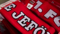 Close Up fan articles of 1 FC Koelna are seen Koeln in front of the RheinEnergiestadion prior to the the Second Bundesliga match between 1 FC Koeln...