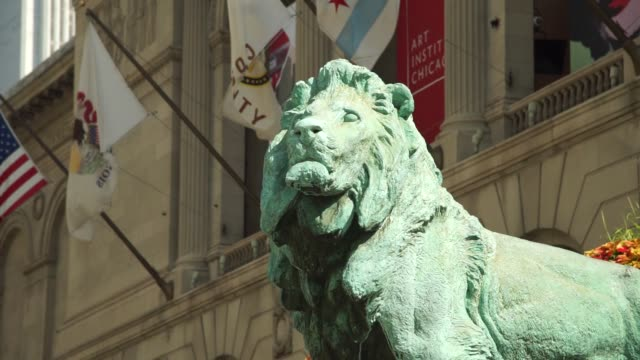Close up footage of the green lion statue outside the Art Institute in Chicago IL on Thursday September 21 2017 Photographer Christopher Dilts Shots...