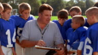 Close up football coach instructing group of young boys in football uniforms / boys nodding