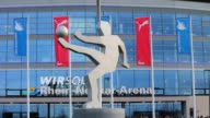 Close Up football player sculpture in front of the stadium General Views of the Wirsol Rhein Neckar Arena prior to the Bundesliga match between 1899...