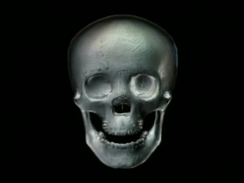 CGI close up human skull rotating upwards + facing camera with black background