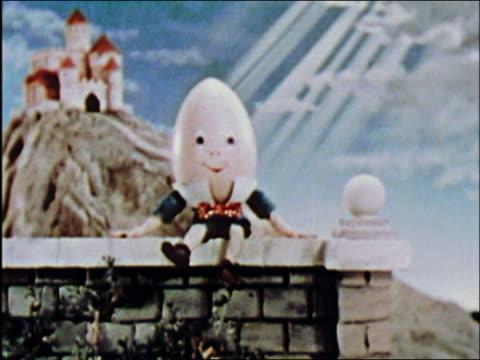 ANIMATION close up Humpty Dumpty sitting on wall and swinging legs / AUDIO
