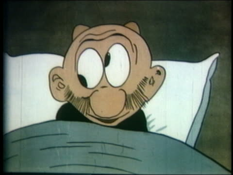 1934 ANIMATED close up man (Mutt) in bad with goggly eyes + 2 lumps growing on head / feature