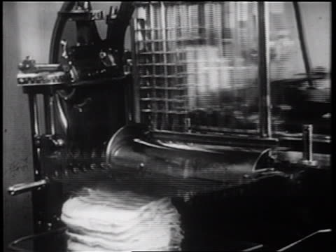 B/W 1939 close up meat slicer / documentary