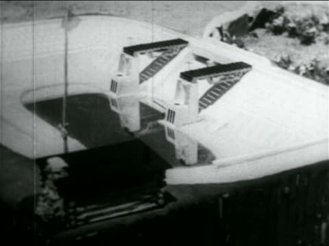 B/W 1934 close up model of stadium in WPA construction project / documentary
