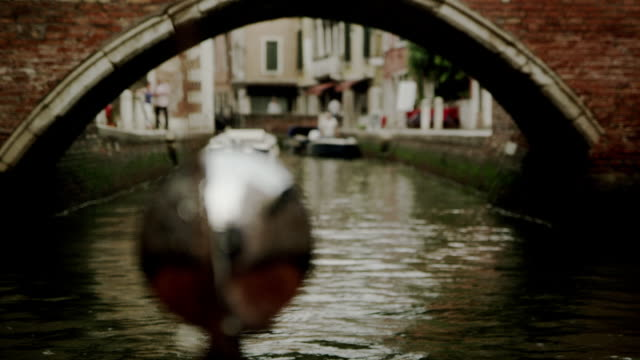 Close up of a boat lamp, in a canal of venice