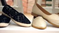 Close up of a Shoe shop. Dolly Shot.