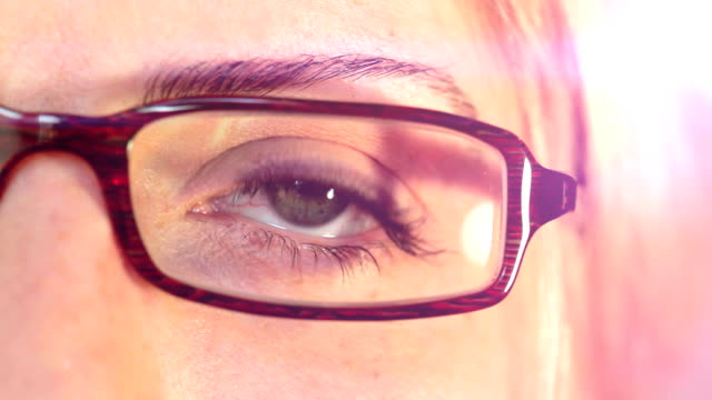 Close up of a Woman's Eye With Glasses. HD