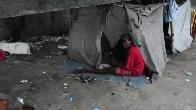 Close Up of adolescent user smoking crack Crack Land in the suburbs of Rio de Janeiro shot on December 10 2013