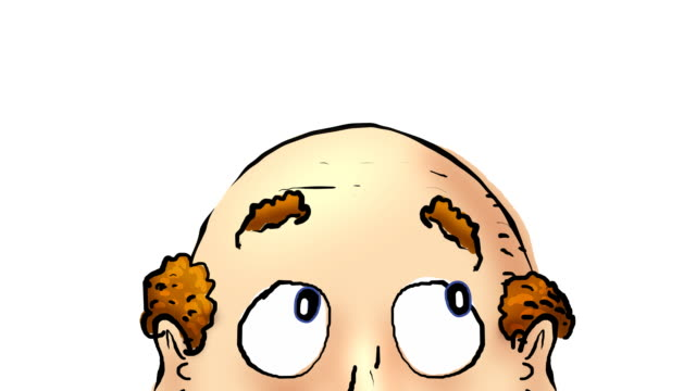 Close up of balding animated head on white.