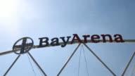 Close up of BayArena logo at stadium entrance Bayer 04 Leverkusen v TSG 1899 Hoffenheim Bundesliga Editorial Video Footage at BayArena on April 20...