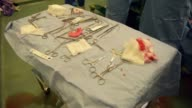 Close up of blood stained surgery tools and cloths next to operating table Patrick Pollock and Padraig Kelly operate on Karma a 14 month thoroughbred...